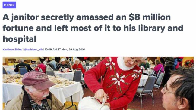 Janitor secretly amassed millions in wealth