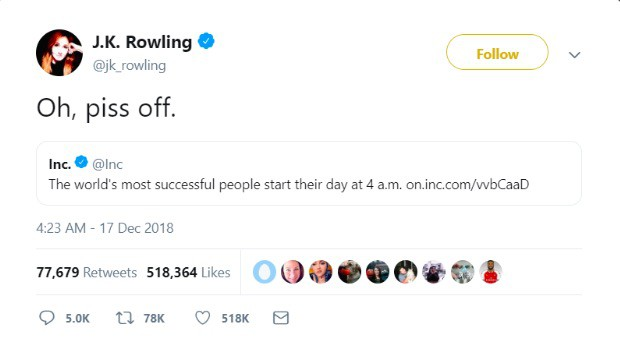 J.K. Rowling tweet about successful sleep habits