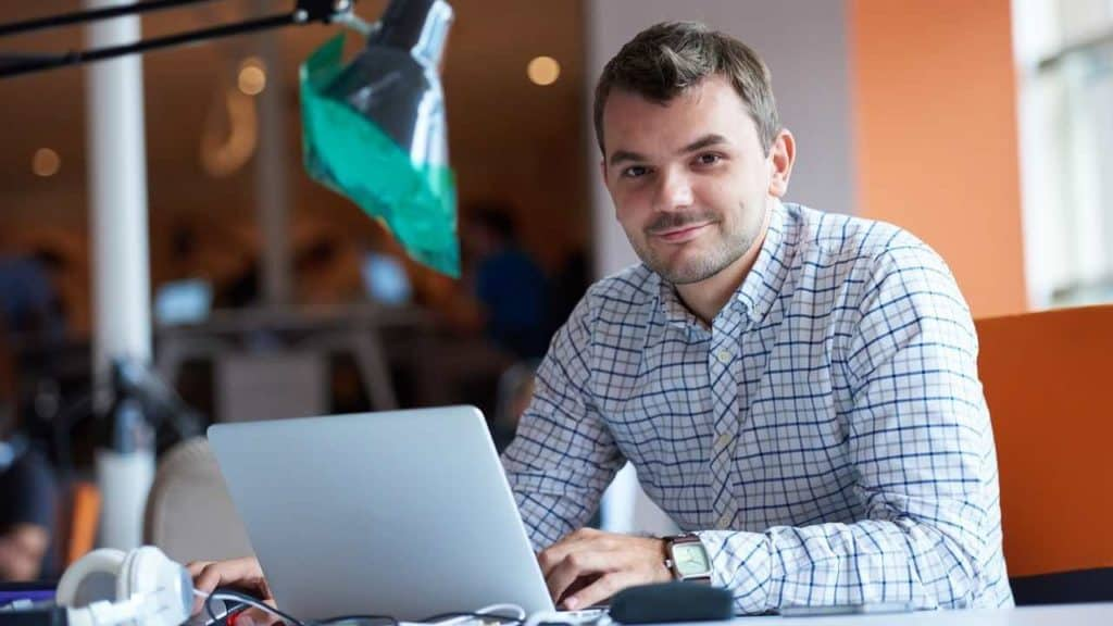 entrepreneur happy because he has changed his habits